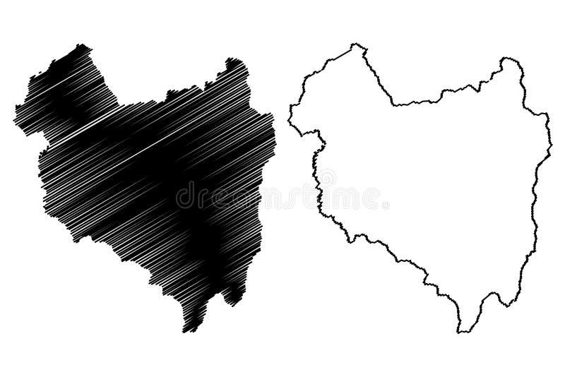 罗马尼亚的科瓦斯纳县管理部门,Centru发展区域地图传染媒介例证,杂文剪影科瓦斯纳 向量例证