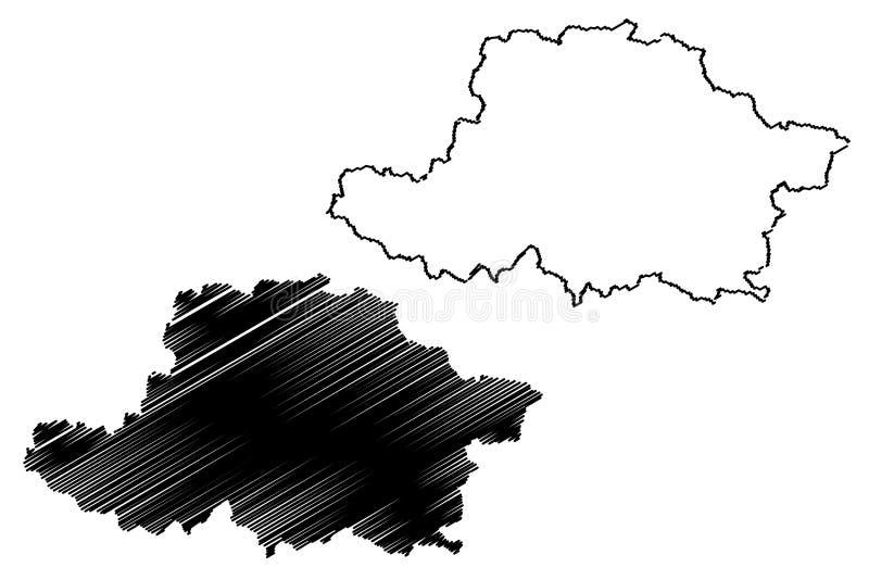 罗马尼亚的阿拉德县管理部门,背心发展区域地图传染媒介例证,杂文剪影阿拉德地图 皇族释放例证