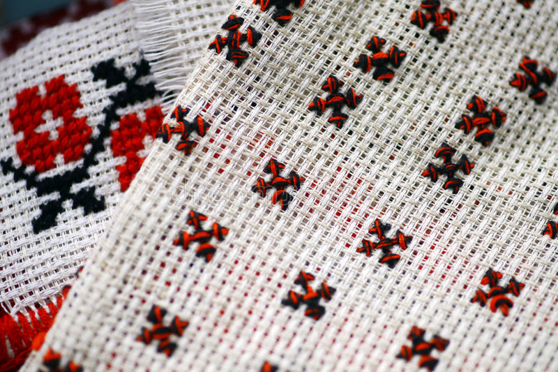 罗马尼亚语被编织的布料 免版税图库摄影