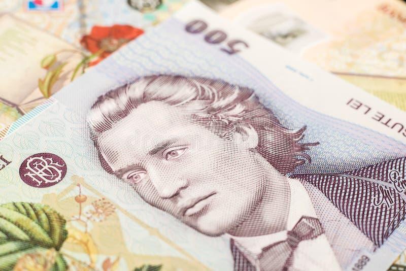 罗马尼亚语钞票的列伊 库存照片