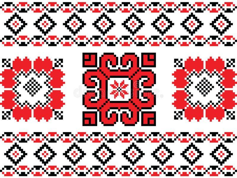 罗马尼亚语,乌克兰语,白俄罗斯语红色刺绣无缝的样式 皇族释放例证