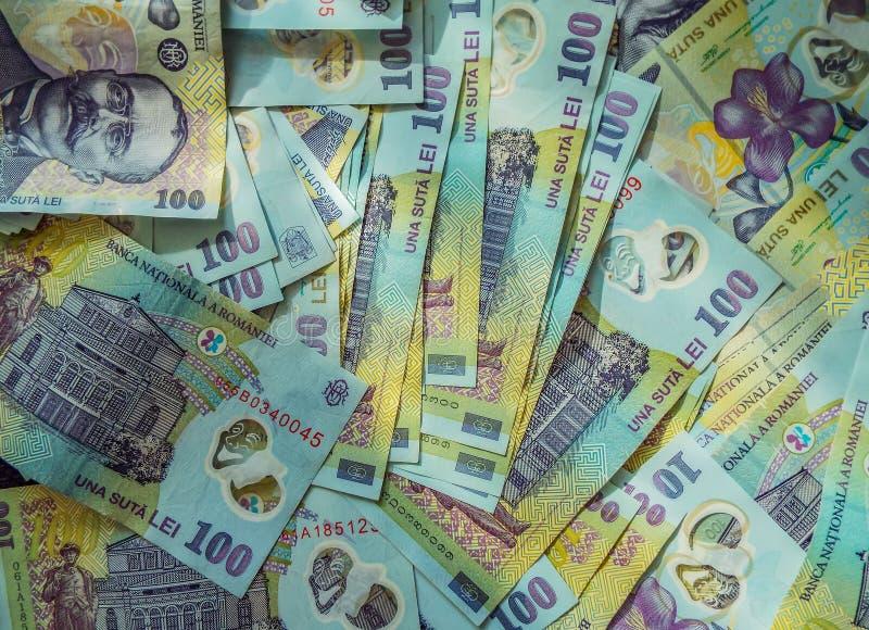 罗马尼亚金钱罗恩背景 免版税库存图片