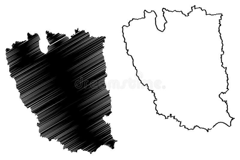 罗马尼亚,东南省的加拉济县管理部门发展区域地图传染媒介例证,杂文剪影加拉济 库存例证