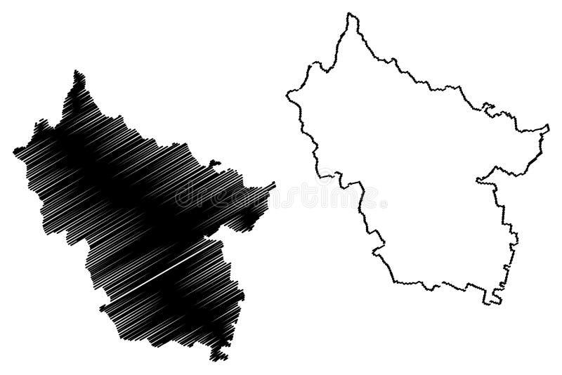 罗马尼亚,东南省的布泽乌县管理部门发展区域地图传染媒介例证,杂文剪影布泽乌地图 库存例证