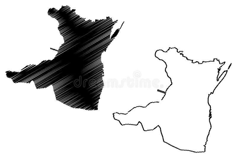 罗马尼亚,东南省的康斯坦察县管理部门发展区域地图传染媒介例证,杂文剪影 皇族释放例证