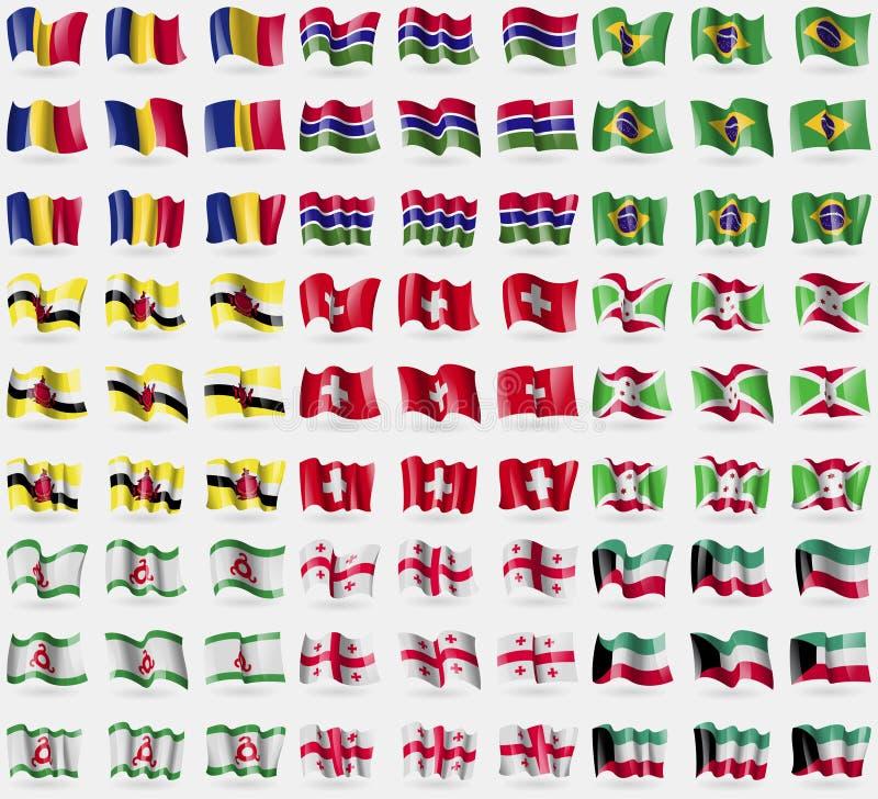罗马尼亚,冈比亚,巴西,文莱,瑞士,布隆迪,印古什,乔治亚,科威特 大套81面旗子 库存例证