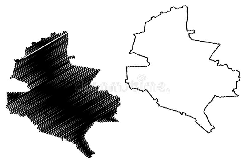 罗马尼亚,布加勒斯特- Ilfov的布加勒斯特县管理部门发展区域地图传染媒介例证,杂文 向量例证
