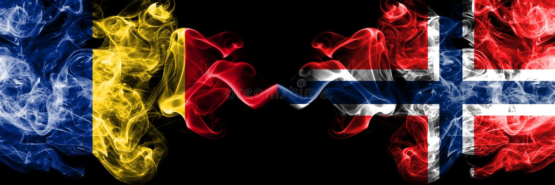 罗马尼亚,罗马尼亚语,挪威,挪威语,轻碰竞争厚实的五颜六色的发烟性旗子 欧洲橄榄球资格比赛 库存图片