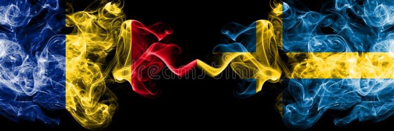 罗马尼亚,罗马尼亚语,瑞典,瑞典竞争厚实的五颜六色的发烟性旗子 欧洲橄榄球资格比赛 免版税库存图片