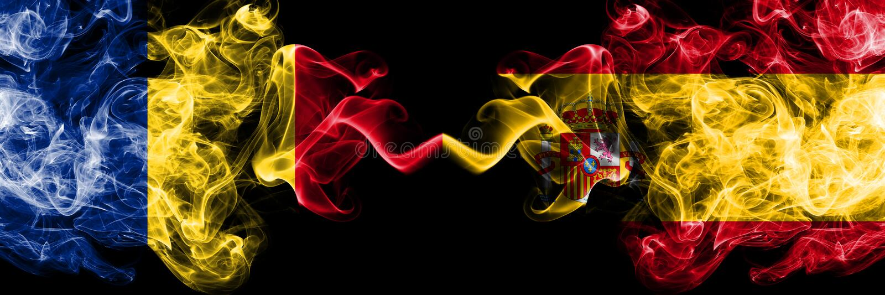 罗马尼亚,罗马尼亚语,西班牙,西班牙竞争厚实的五颜六色的发烟性旗子 欧洲橄榄球资格比赛 免版税库存图片