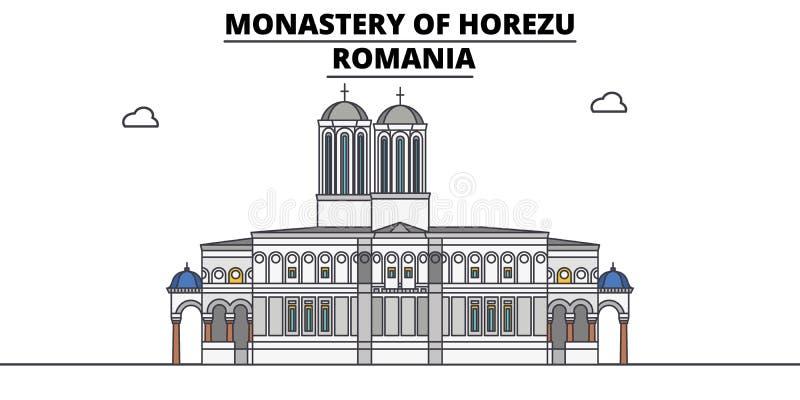 罗马尼亚,霍雷祖修道院,旅行地平线传染媒介例证 皇族释放例证