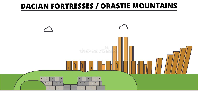 罗马尼亚,Dacian堡垒,奥勒什蒂耶山,旅行地平线传染媒介例证 皇族释放例证