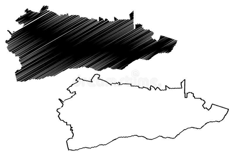 罗马尼亚,Sud -蒙特尼亚发展区域地图传染媒介例证,杂文剪影的克勒拉希县管理部门 皇族释放例证