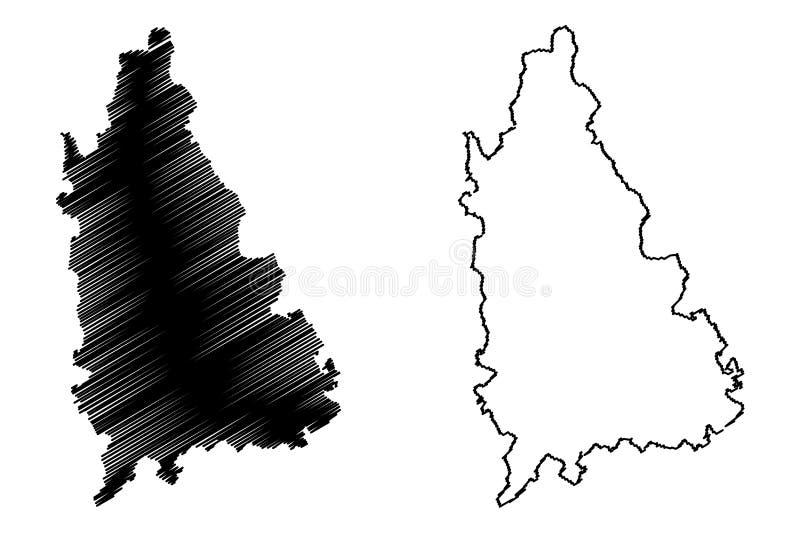 罗马尼亚,Sud -蒙特尼亚发展区域地图传染媒介例证,杂文剪影的登博维察河县管理部门 库存例证