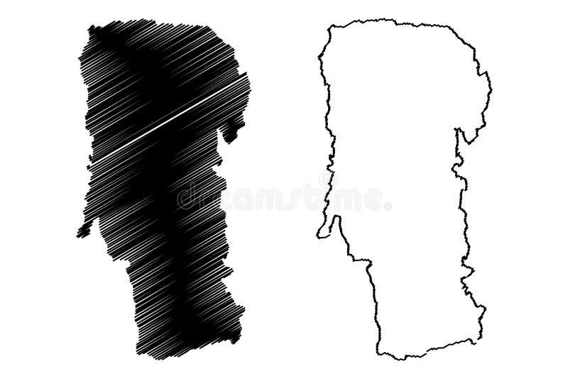罗马尼亚,Sud -蒙特尼亚发展区域地图传染媒介例证,杂文剪影的阿尔杰什县县管理部门 皇族释放例证