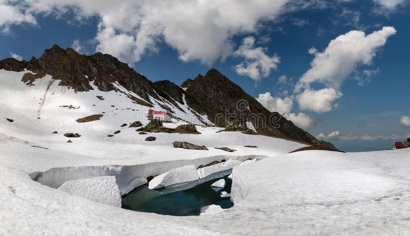 罗马尼亚,Transfagarasan通行证 著名罗马尼亚蛇纹石,一多数危险路在世界上 被雪包围住和雪崩危险 库存图片