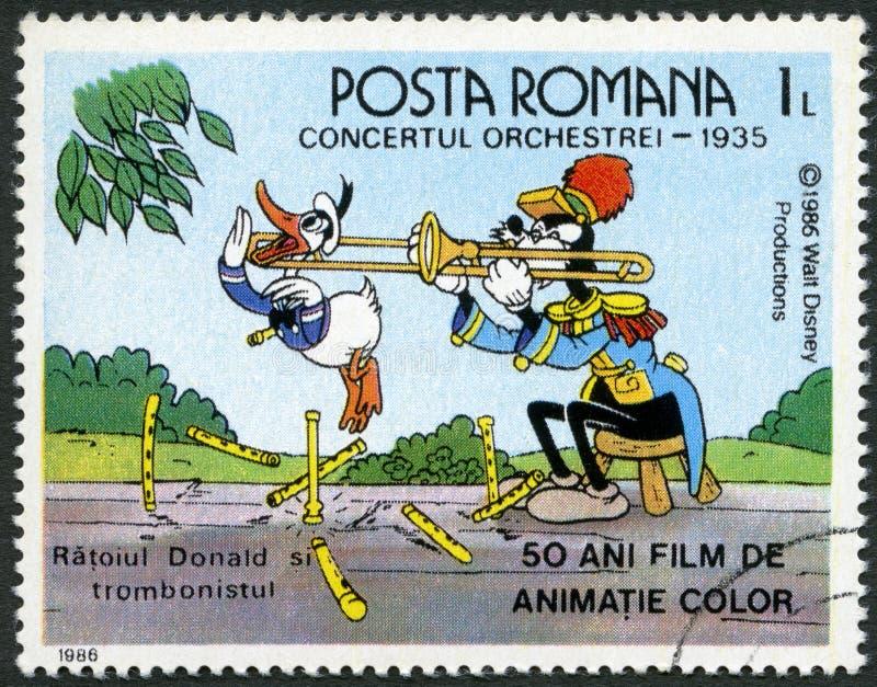 罗马尼亚- 1986年:展示唐纳德和伸缩喇叭手,在带Concert的华特・迪士尼字符, 1935年,五十年颜色给影片赋予生命 皇族释放例证