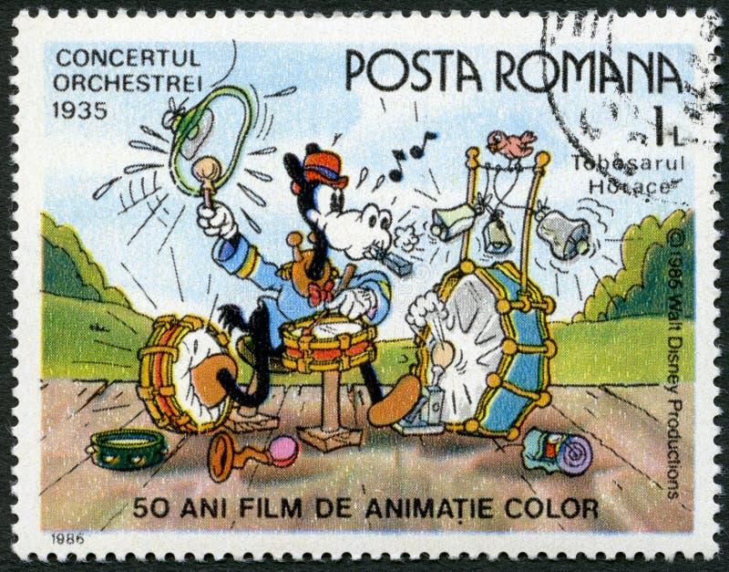 罗马尼亚- 1986年:展示贺拉斯,在带Concert的华特・迪士尼字符, 1935年,致力五十年颜色给影片赋予生命 向量例证