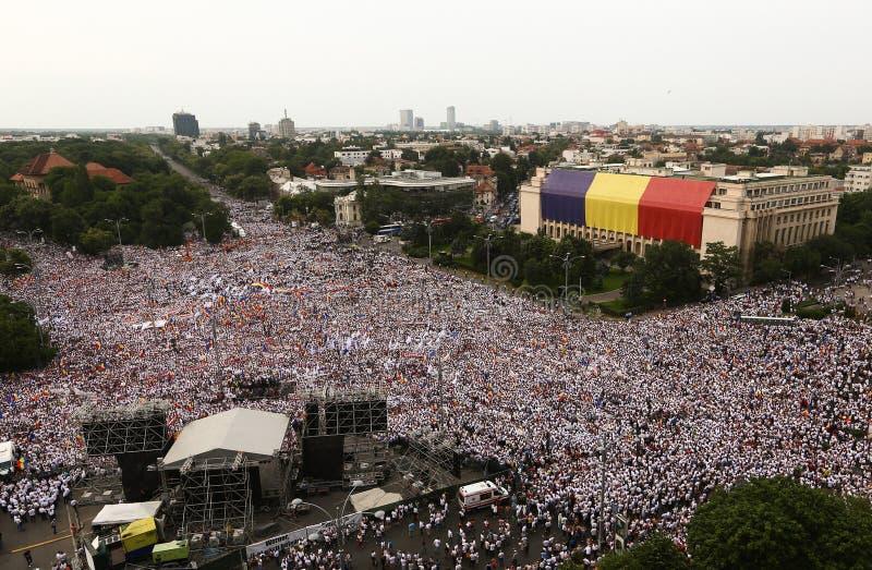 罗马尼亚` S执政党在布加勒斯特组织了一种抗议 免版税库存图片