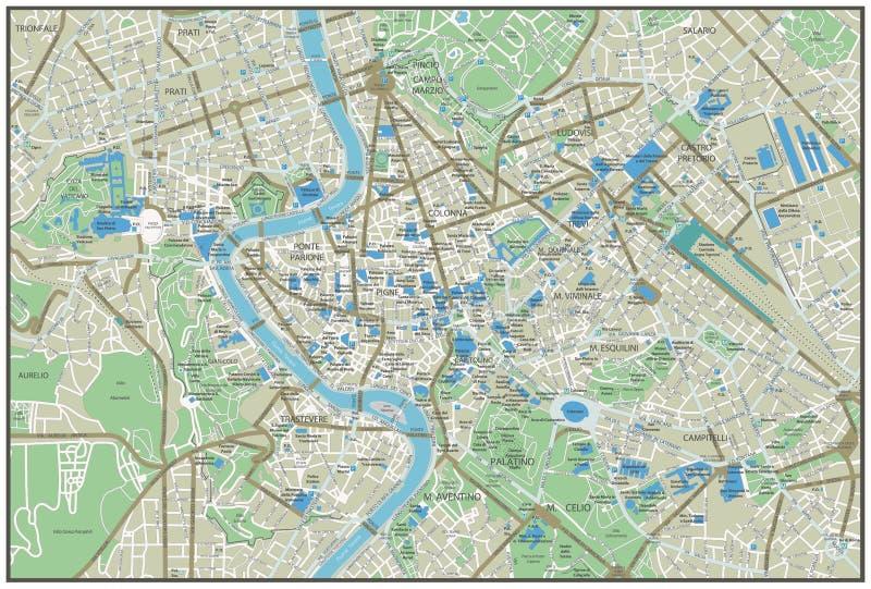 罗马市地图 向量例证