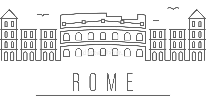罗马市概述象 r r 向量例证