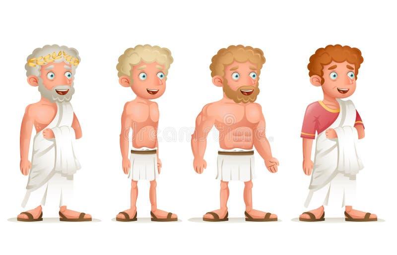 罗马希腊减速火箭的葡萄酒老年轻宽外袍缠腰带字符象集合动画片设计传染媒介例证 库存例证