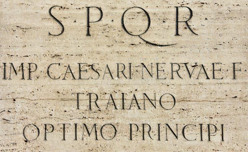 罗马帝国皇帝Trajan的拉丁题字 图库摄影