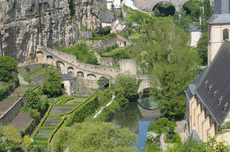 罗马废墟在卢森堡市 免版税图库摄影