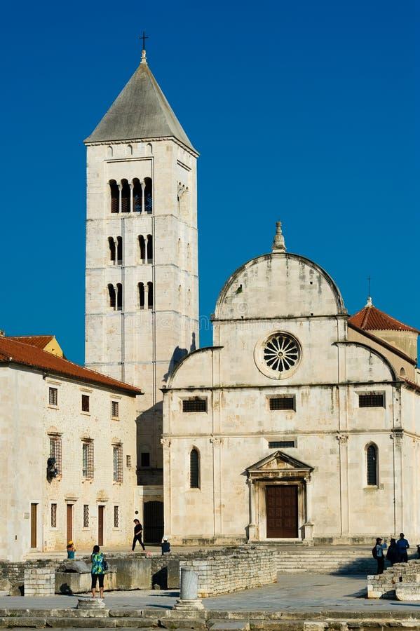 罗马式教会在扎达尔老镇  库存照片