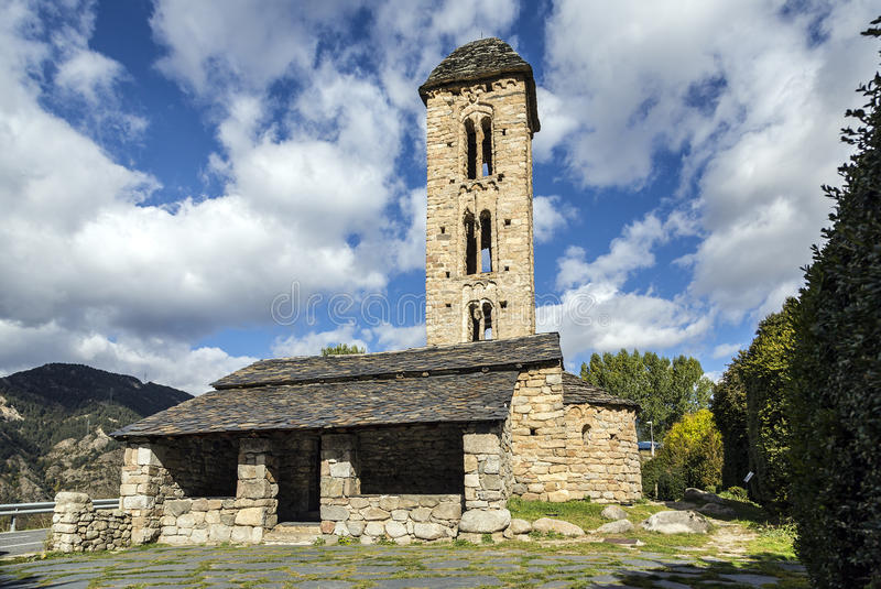 罗马式教会Sant Miquel dï ¿ ½ Engolasters,安道尔 库存图片