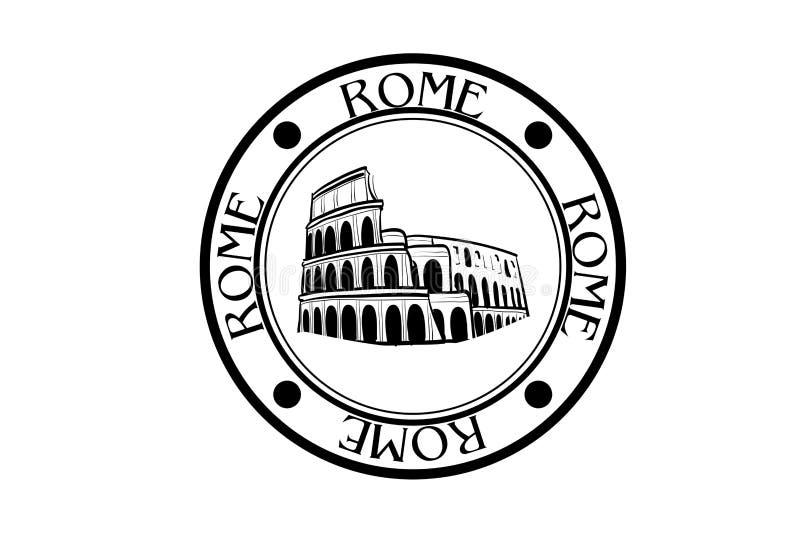罗马意大利和在白色背景的罗马斗兽场 向量例证