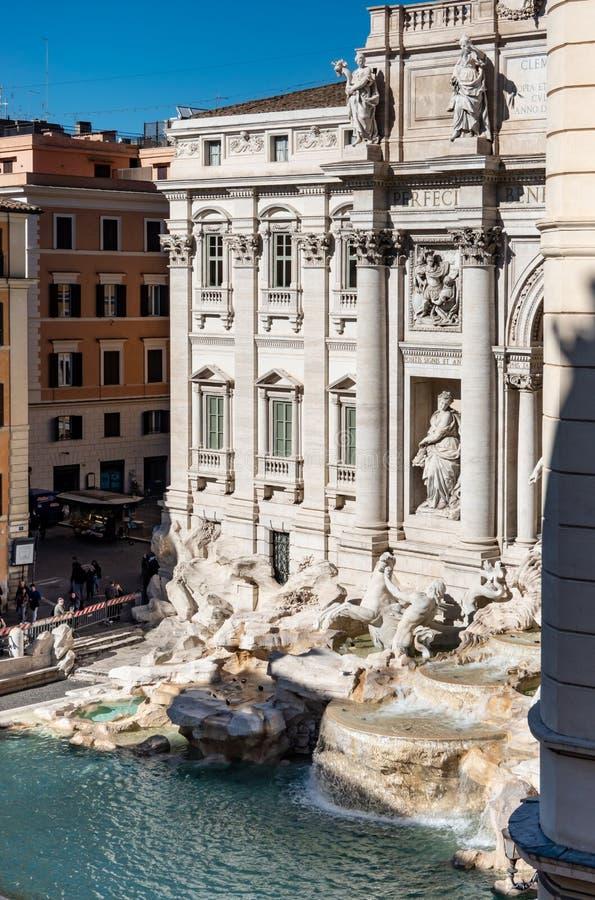 罗马意大利:Trevi喷泉的鸟瞰图,芳塔娜di Trevi,著名观光的罗马 免版税库存照片