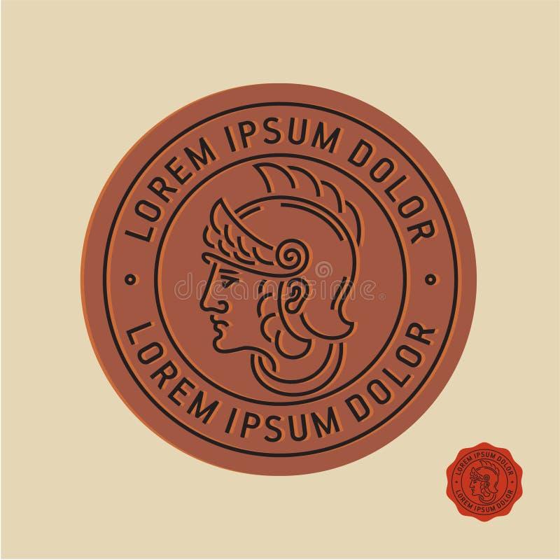 罗马战士邮票,古老硬币 向量例证