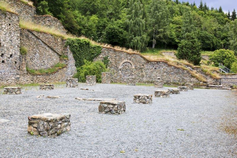 罗马挖掘在Magdalensberg,克恩顿州 库存照片