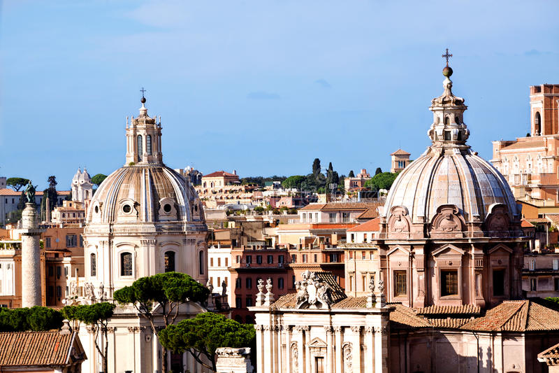 罗马教会和Trajans列 库存照片