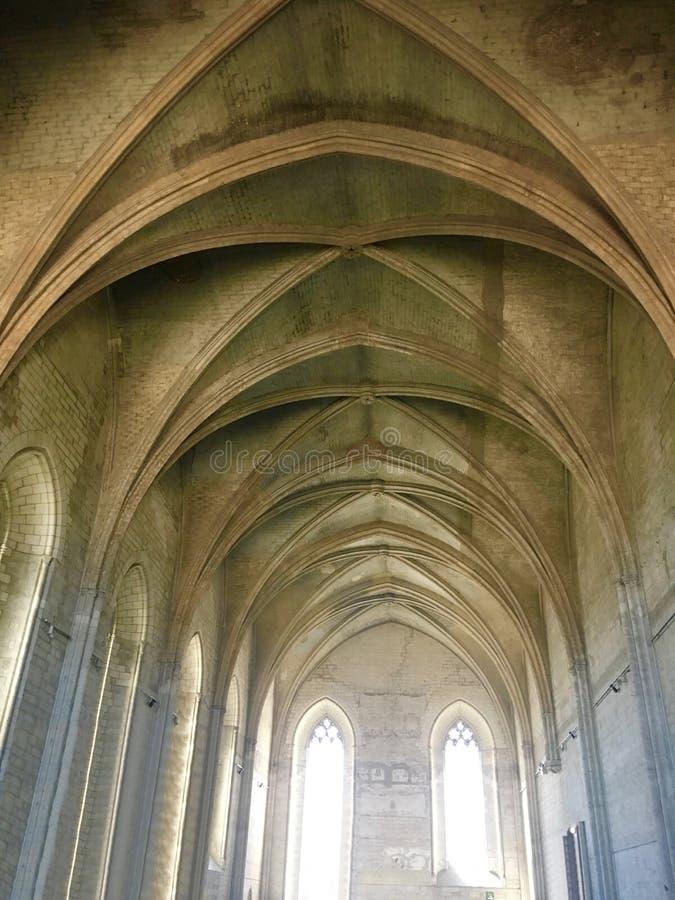 罗马教皇的宫殿是位于阿维尼翁的一个历史宫殿,南法国 它是一个最大和最重要的中世纪Goth 免版税库存照片