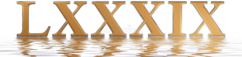 罗马数字LXXXIX, novem和octoginta, 89,八十九, refle 向量例证