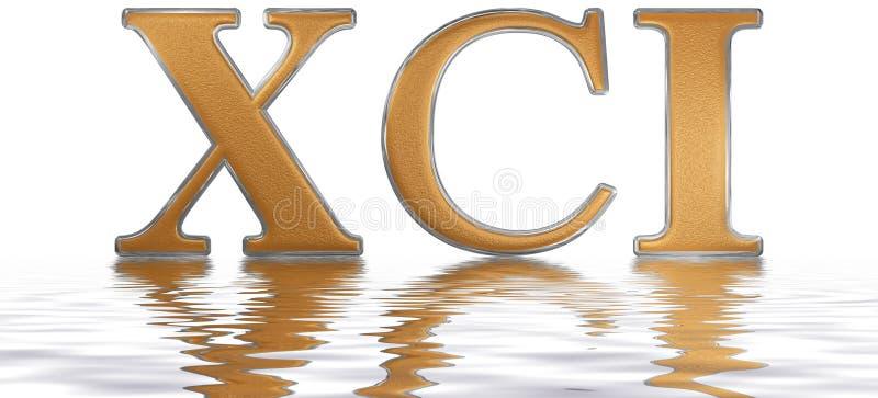 罗马数字XCI、unus和nonaginta, 91,九十一,被反射 库存例证