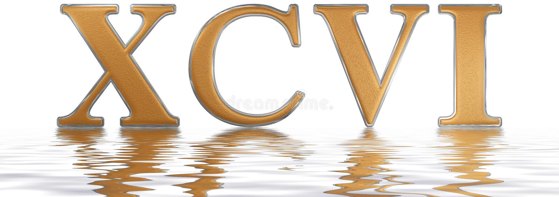 罗马数字XCVI,性和nonaginta, 96,九十六,被反射 库存例证