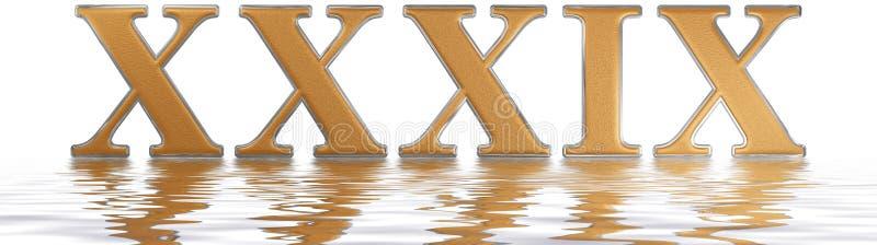 罗马数字XXXIX novem和triginta, 39,三十九, reflecte 库存例证