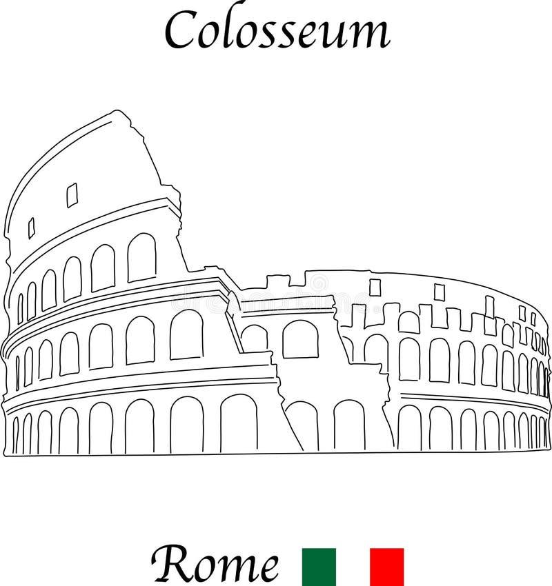 罗马斗兽场,有意大利旗子的罗马,隔绝在白色背景 向量例证