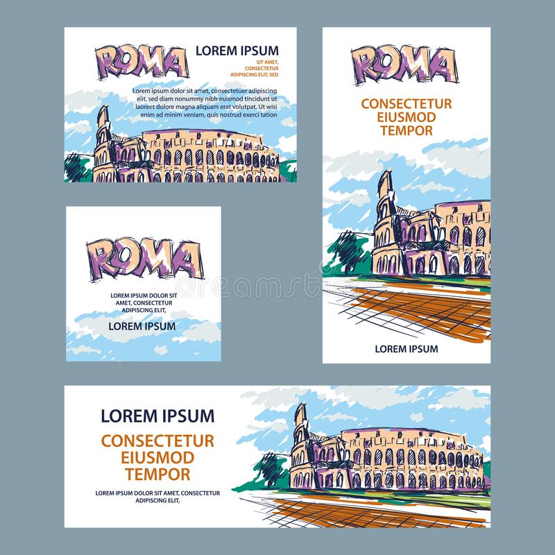 罗马旅行与罗马斗兽场例证的横幅集合 横幅的,盖子,飞行物手拉的颜色罗马斗兽场剪影背景 向量例证