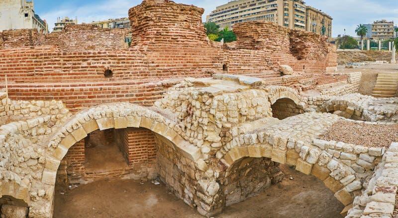 罗马浴在亚历山大,埃及 库存图片