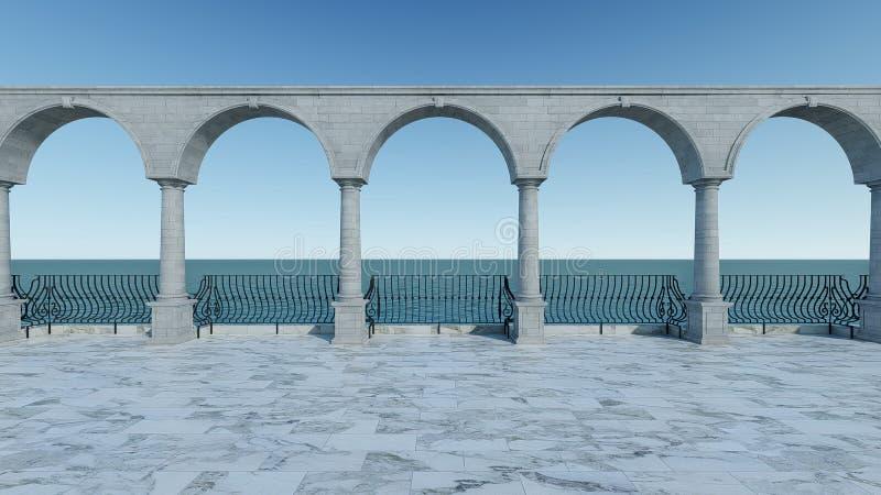 罗马清楚的3D回报设计经典之作放松浪漫经典海视图大阳台浪漫anceint样式 皇族释放例证