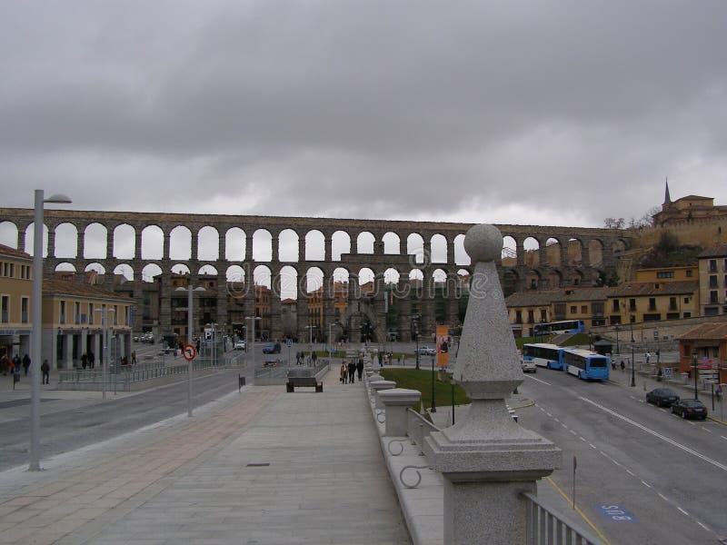 罗马渡槽在塞戈维亚西班牙 免版税库存照片