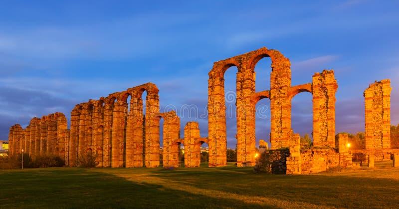 罗马渡槽在梅里达 西班牙 免版税图库摄影