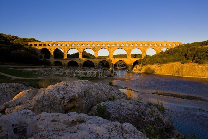 罗马渡槽,Pont du加尔省,朗戈多克・鲁西荣,法国 免版税库存图片