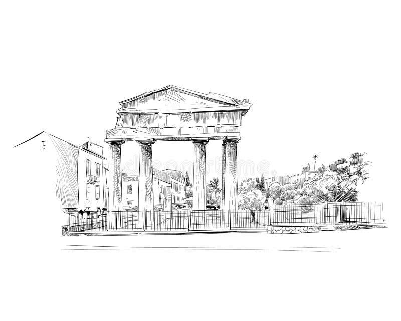 罗马的集市 雅典 希腊 手拉的草图 也corel凹道例证向量 皇族释放例证