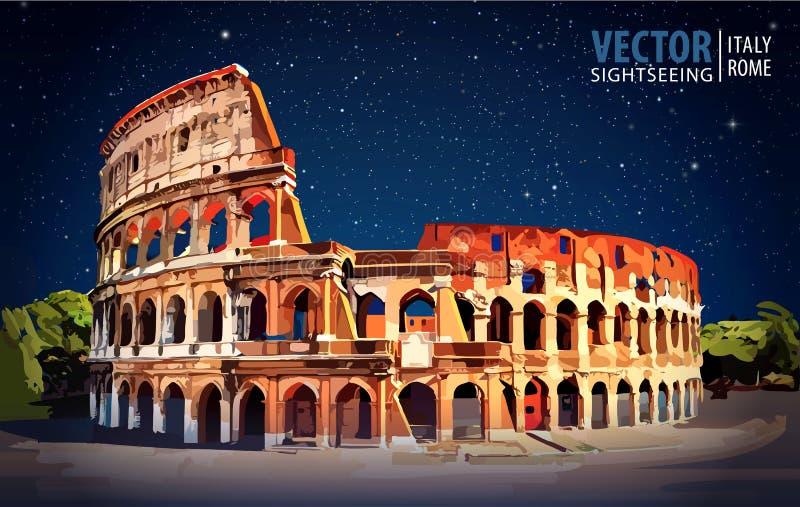 罗马的colosseum 欧洲意大利罗马 旅行 向量例证