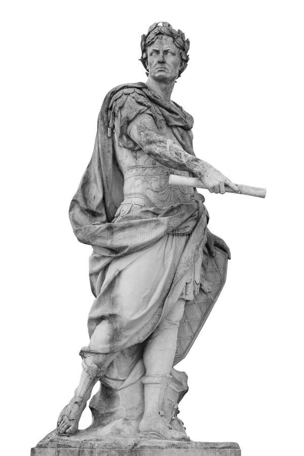 罗马皇帝尤利乌斯・凯撒雕象被隔绝在白色背景 免版税库存照片